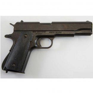 Pistola automática 45 M1911 A1 Fabricada por Colt USA 1911 DENIX. Cachas negras en Plástico Grabado