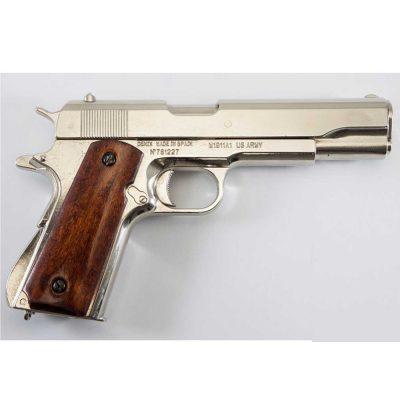 Pistola Automática 45 M1911 A1 USA 1ª y 2ª Guerra Mundial en Plata con Cachas de Madera DENIX Ref 6316