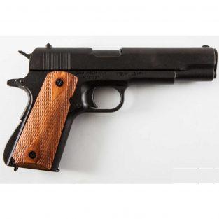 Pistola Automática 45 M1911A1 Negra con Cachas de Madera Grabada 1ª y 2ª Guerra Mundial Ref 8316
