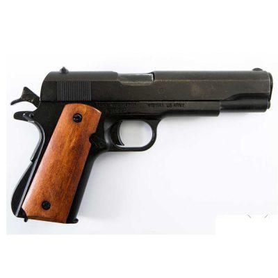 "Pistola Automática 45 M1911 A1 USA ""1ª 𝓨 2ª 𝓖𝓾𝓮𝓻𝓻𝓪 𝓜𝓾𝓷𝓭𝓲𝓪𝓵"" Con Cachas de Madera DENIX Ref 9316"