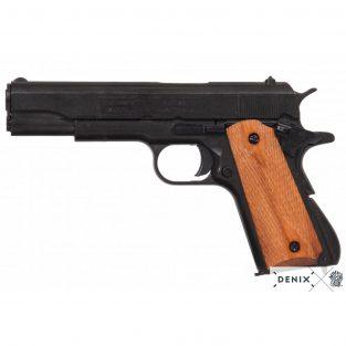 Pistola automática 45 M1911 A1 Fabricada por Colt USA Cachas Madera Grabada